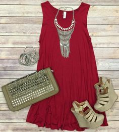 Back at It Tunic Dress: Cranberry