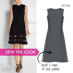 Sew the Look: This Jason Wu dress on the right is made out of basic ponte knit, but the lace panel insets take it to the next level. Try this with McCall's dress pattern M7169 by Palmer/Pletsch.
