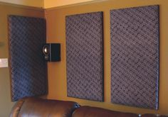 DIY sound proofing panels great for a home theater or recording - 17 Awesome soundproofing Walls Diy Home Studio Musik, Soundproofing Walls, Soundproof Panels, Drum Room, Acoustic Wall, Diy Acoustic Panels, Diy Casa, Home Theater Rooms, Cinema Room