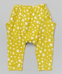 Look at this #zulilyfind! Yellow Star Harem Pants - Infant, Toddler & Kids by Leighton Alexander #zulilyfinds