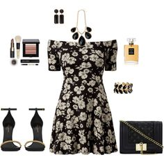 Black Floral dress with gold accented accessories