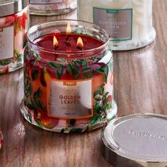 Golden Leaves—sunlit leaves meld with cinnamon bark to create a woody, spicy setting for sweet autumn apples and berries. Burn time: 25-45 hours. $25.00 each http://www.partylite.biz/legacy/sites/juliehoyman/productcatalog?page=productdetail&sku=G73905