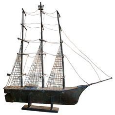 Full Bodied Three Masted Ship Copper Weathervane
