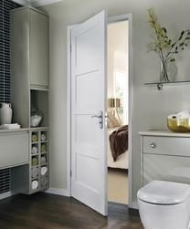 Also ❤️ing these for the upstairs internal doors in our new home - Primed 4 Panel Shaker door - 4 Panel Shaker Doors, 4 Panel Doors, 4 Panel Interior Door, Shaker Interior Doors, Contemporary Internal Doors, White Internal Doors, Wet Room Bathroom, Bathroom Doors, Paint Doors White
