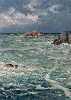 """Maxime Maufra (1861-1918) ~ """"Crique de Domois, Bangor (Belle-Ile-en-Mer), Bretagne"""" - (Détail)"""