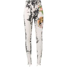 Gucci embroidered skinny jeans ($1,155) ❤ liked on Polyvore featuring jeans, pants, black, embroidery jeans, bleached jeans, gucci, bleached skinny jeans and bleach splatter jeans