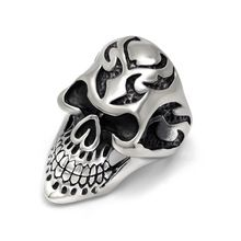 2016 New Hot Fashion Engraved Skeleton Stainless Steel Mens Ring Retro Classic Jewelry Silver Skull heads Rings for Men,KR871(China (Mainland))