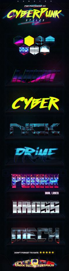 Cyberpunk #Photoshop Styles  • Only available here ➝ https://graphicriver.net/item/cyberpunk-styles/17605947?ref=pxcr