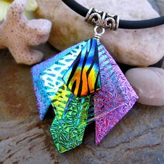 Unique 3D Dichroic Glass Pendant  Adjustable by UniqueDichroic, $24.50