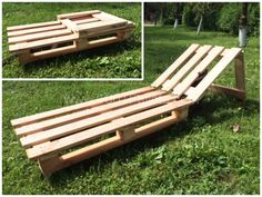 Folding Pallet sunbed on wheels for portability.