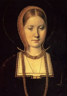 By Michael Sittow. Probably a young Catherine of Aragon, known at this age for her beauty. Daughter of Ferdinand and Isabella of Spain, wife to Prince Arthur of England and, more famously, to his younger brother Henry VIII. Also mother of Mary I.