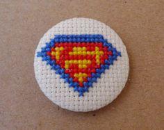 Thor cross stitch 31mm pinback button  by PetipoaNeedleCraft