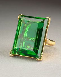 Kenneth Jay Lane KJL Gold Emerald Square Ring by melodicglam,