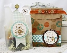 Adorable brown paper sack packaging from Melissa Phillips