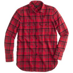 J.Crew Boyfriend Flannel Shirt (298.715 COP) ❤ liked on Polyvore featuring tops, shirts, flannel, button down, oversized button down shirt, red shirt, red flannel shirt, red top and button down shirt