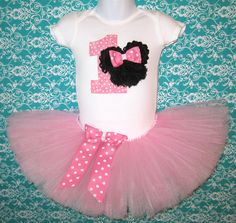 Pink Minnie Mouse First Birthday Tutu Set...Baby Pink and White Polka Dot Shabby Rosette Minnie Mouse...Other Colors Available on Etsy, $39.75