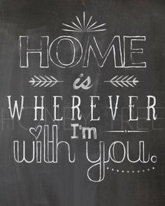 Chalkboard Print- 8x10 Home is wherever I'm with you chalkboard print