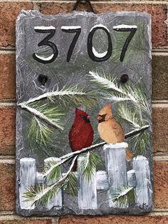 Winter Painting, Painting On Wood, Rustic Painting, Christmas Signs, Christmas Art, Xmas, Painted Slate, Hand Painted, Slate Art