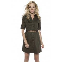 Belted Shirt Dress - Suzy Shier