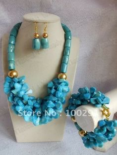 Flower Strand Blue color African Wedding Bridal Coral Jewelry Set Coral Necklace Bracelet Earring Set $48.40