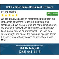 We ate at Kelly's based on recommendations from our innkeepers at Cypress House Inn, and...