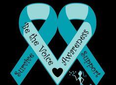 Double ovarian cancer awareness ribbon