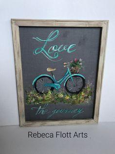 Love the Journeyvintage bike hand painted on window screen