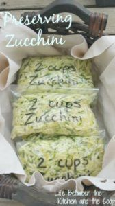Preserving Zucchini One of the things I love about having a garden is the harvest in the fall. One of my favorite things that we get from our garden is zucchini. Mere words cannot express how much our family loves zucchini! As it gets later in the fall, Parmesan Zucchini Chips, Zucchini Ravioli, Zucchini Bites, Zucchini Lasagna, Cheesy Zucchini Bake, Zucchini Fritters, Zuchinni Spaghetti Recipe, Zuchinni Bread Muffins, Canning Recipes