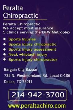 We accept most insurance  5 clinics serving the DFW Metroplex    Sports Injuries  Sports injury chiropractic  Sports injury assessment  Neck whiplash injury  Sports injury chiropractor    Call - 214 842 3015