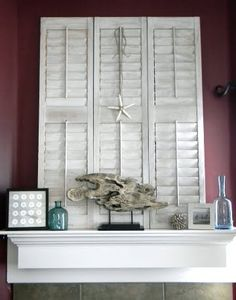 mantels, living rooms, summer mantel, mantel idea, wordpress, diy, shutters, mantles, decor idea