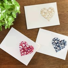 Embroidery Cards, Embroidery Kits, Craft Gifts, Diy Gifts, Paper Crafts Origami, Thread Art, Valentine Day Cards, Bookbinding, Creative Cards