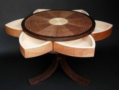 Lotus Table with Secret Compartments Locked by a Puzzle