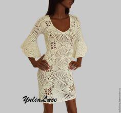 Купить Вязаное платье молочного цвета - бежевый, платье, платье молочное, платье летнее