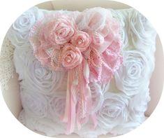 rose pin, pink pearls pillow, fabric rose pin, Romantic roses     www.RomancingTheRoseStudio.com ©Website Design by: OneSpringStreet.NET 2011