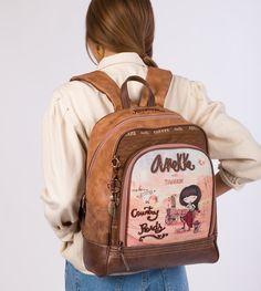 Veľký a praktický batoh s motívom kolekcia Arizona Arizona, Cactus Print, Beige, School Backpacks, Leather Backpack, Fashion Backpack, Country, Zip, Illustration