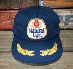 NATURAL LIGHT Beer Vintage 80s Blue Snapback Trucker Hat  FlightApparelInc   Trucker  Everyday 2367e7f9826