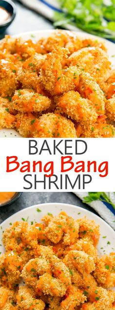Crispy Baked Bang Bang Shrimp. Healthier than the fried version and the coating comes out a beautiful golden brown.