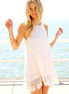 white tank dress #hippie #fringe