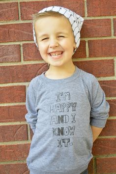 I'm Happy and I Know It  Kids Long Sleeve Grey Tri-Blend by ModFox