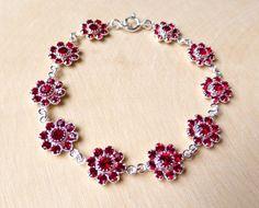 Swarovski Garnet Red Crystal Bracelet Siam Red by JBMDesigns $47.00 **Click image for more details**
