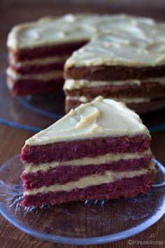Red Velvet Cake by Kinuskikissa Red Velvet, Velvet Cake, Deserts, Cakes, Baking, Drinks, Tableware, Sweet, Ethnic Recipes