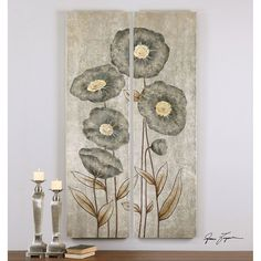 Uttermost Graceful Flowers Hand Painted Art, Set of 2 34296