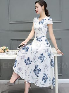 Ericdress Flower Print V-Neck Expansion Maxi Dress 4