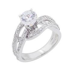 #Malakan #Jewelry - White Gold Diamond Engagement Ring 55043B #Bridal #Weddings #EngagementRings #Diamonds