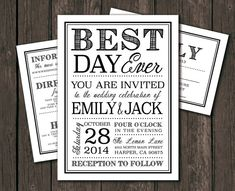 Moder Wedding Invitation Template - Printable DIY Wedding Invitation. Best Day Ever, Typography (1065)