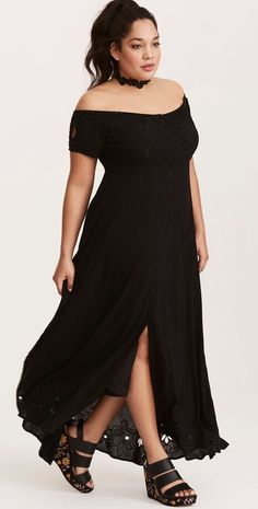 Plus Size Embroidered Off The Shoulder Maxi Dress