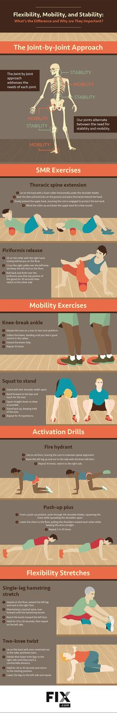 Flexibility, Mobility, and Stability: What's the Difference and Why Are They Important? #infographic #infografía