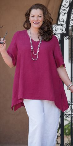 Box 2 dark fuchsia linen v neck top and crop trouser