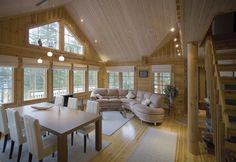 Kuvagalleria - Kontio Hirsitalot ja Hirsihuvilat Dream House Plans, Wooden House, House In The Woods, Tiny House, Sweet Home, Strawberry Patch, Cottage, Patio, Windows