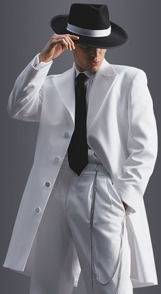 White Avalon Zoot Suit in classic fit, 4-button peak lapel. Available at #FriarTux